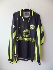 Borussia Dortmund Away Shirt 1996 XL Nike Long Sleeves Black Adults Football Top