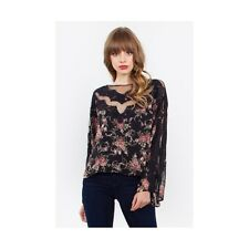 Florence Top LAVELIQ. Black Floral print top with lace inset Blouse