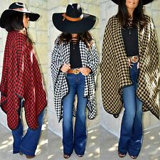 HOUNDSTOOTH Thick Wrap Ruana Poncho Shawl Black White Camel Red X-Long XS-XXL
