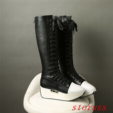 Gothic Women Platform Knee High Boots Shoes Platform Lace Up Cosplay Boots Size