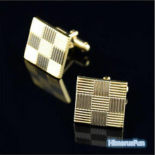 Square Men's Wedding Party Business Grid Laser Cuff Links Tie Clip Clasps Gifts