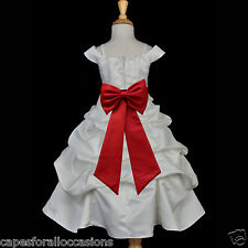WHITE SPAGHETTI STRAP WEDDING FLOWER GIRL DRESS PAGEANT 2 3T 4 5T 6 8 9 10 12 14