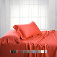 Luxury Bamboo Bed Sheet Set Hypoallergenic Cotton-Bamboo Blend Super Soft Sheets