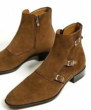 ZARA SPECIAL EDITION BROWN LEATHER THREE BUCKLE ANKLE BOOTS 39-45 REF. 5614/102