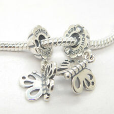 Genuine Authentic S925 Silver Friends Forever Butterfly Dangle Charm bead