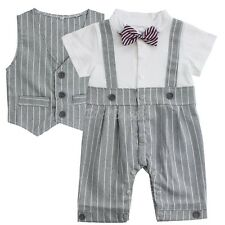 Baby Boys Gentleman Romper Bodysuit Waistcoat Bowknot Stripe Outfit Bebe Clothes