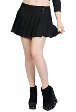 Banned Women's Gothic Plain Black Emo Goth Look Stretchy Pleated Mini Skirt