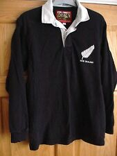COTTON TRADERS: MENS BLACK NEW ZEALAND ALL BLACKS RUGBY SHIRT SZ S