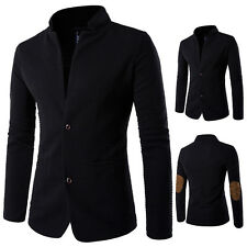 Mens Casual Slim Fit Stand Collar Patches Suit Blazer Plus Size Coat Jacket Tops