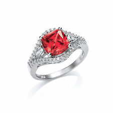 Platinum Plate Sterling Silver Ruby Red Cushion Fancy Ring Size L-R