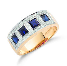 9k Yellow Gold Real Sapphire Squares & Diamond Ring - British Made - hallmarked