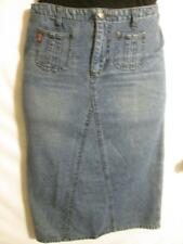 Women's Long Straight Blue Denim Cotton Skirt, Sz 10, Mudd, Free Shipping to US