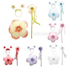 3pcs Girl Fairy Princess Xmas Halloween Party Costume Flower Wing Wand Headband