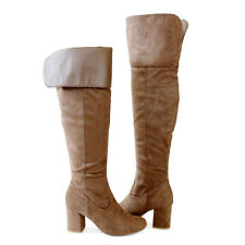 "Cuff or Unfold Cuff Suede 3"" Covered Block Heel  Over the Knee High Boots Taupe"