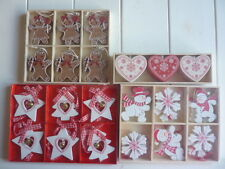 Sets Of Hanging Christmas Tree Decorations Gingerbread Hearts Snowmen Star Trees
