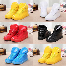 Hot Fashion Mens Candy Color School Shoes High-top Athletic PU Sneaker Trainers