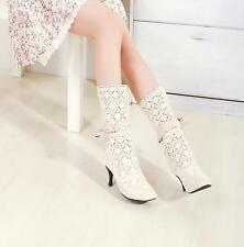 Womens Hollow Summer Knitted Calf  Knee High Sexy Boots Sandals Shoes Size