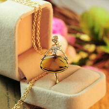 Fashion Gold Plated Sweater Chain Shiny Crystal Ballet Girl Pendant Necklace TOP