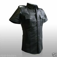 REAL LEATHER Mens Black Police Military Style Shirt BLUF GAY