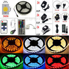 DC12V/24V 5M 16.4ft SMD 5050 300LED RGB White Flexible Strip Light +Remote+Power