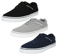 ECKO New Men's Avery Low Canvas Shoes Plimsoll Trainers Sneakers Blue Black Grey