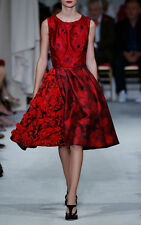 $6290 New Oscar de la Renta RED Fil Coupé  Silk Mikado Dress Embroidered 12 10 8