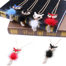 Fox Pendant Rhinestone Inlaid Fur Necklace Long Sweater Chain Gift Women Jewelry