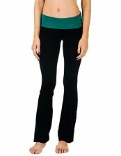 Cotton Cantina Yoga Juniors Fold Over Cotton Spandex Pants Black Kelly S M L