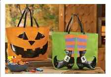 Mud Pie MH6 Halloween Dazzle Jute Witch Shoes or Jack-O-Lantern Tote Bag 8613161