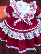 DREAM BABY SPANISH ROMANY NETTED RED XMAS DRESS 0 TO 2 YEARS OR REBORN DOLLS