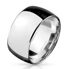 316L Stainless Steel 10mm High Polished Wide Wedding Band Ring, Size 9-14