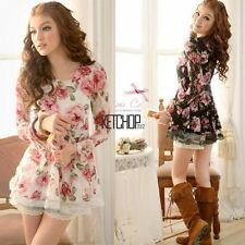 Women New Long Sleeve Rose Flower Shirts Blouses Prints Lace Casual Tops KECP