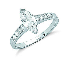 Rhodium Finish Sterling Silver Marquise Solitaire Ring - Hallmarked - UK Made