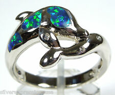 Blue Fire Opal Inlay Solid 925 Sterling Silver Dolphin Ring size 6