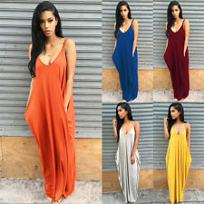 Women's Summer Sleeveless Boho Long Maxi Dress Evening Party Beach Sundress