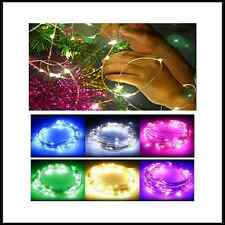 LED Battery MICRO Copper Silver Wire String Fairy Lights Xmas UK 20/30/40/50/100