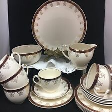 VINTAGE ALFRED MEAKIN RED AND GOLD AFTERNOON TEA SET ITEMS
