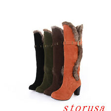 Women Lady Furry Knee High Boots Block Heel Snow Boots Shoes Faux Suede Size New