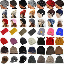Women Men Winter Warm Knitted Crochet Slouch Baggy Beret Beanie Headband Hat Cap