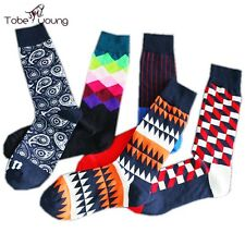 Fashion Mens Geometric Pattern Striped Cotton Warm Painting High Socks Business