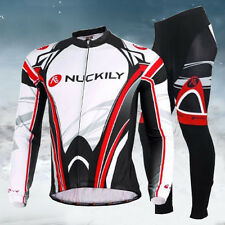 New Mens Warm Thermal Fleece Long Sleeve Cycling Jersey Set Pants Winter Fit