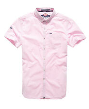 New Mens Superdry London Button Down Shirt Chalk Stripe Pink