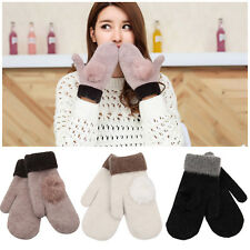 New Women Fashion Soft Gloves Lady Fur Wool Warm Winter Knitted Gloves Mittens