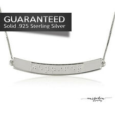 Sterling Silver 0.925 - Custom Personalized Braille Name Necklace - Bar Style