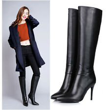 Womens Sexy high Heel Pointy Toe Knee High Leather Zip Boots Shoe Plus Size 4-10