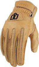 ICON 1000 Rimfire Short Gauntlet Leather Motorcycle Gloves (Tan) Choose Size