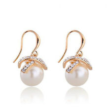 18K Gold or Silver Plated Drop Earrings - Simulated Pearl and Austrian Crystal