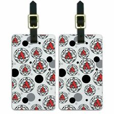 Luggage Suitcase ID Tags Set of 2 Letter Initial Damask Elegant Red Black
