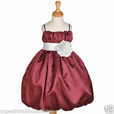 BURGUNDY CHRISTMAS HOLIDAY BRIDE FLOWER GIRL DRESS 2 2T 3 3T 4 4T 5 5T 6 6X 8 10