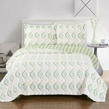 Brea Luxury Microfiber Quilt, Printed Floral Oversized Bedspread & Matching Sham